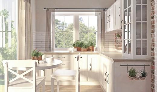 Projekt kuchni i salonu w stylu wiejskim z nutką Skandynawii